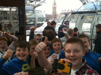 Boarding the London Eye with Big Ben in the background. You can sense the excitement!
