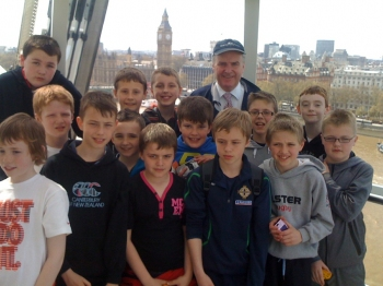 The boys with Mr Kennedy... up high now!